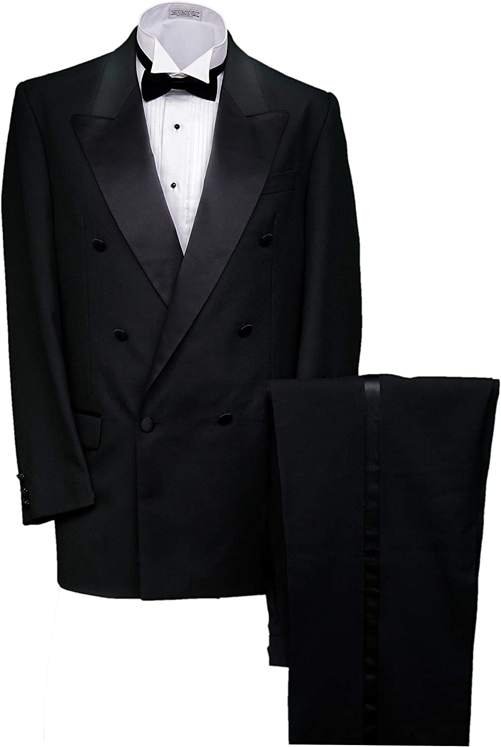 Broadway Tuxmakers Men's Double Breasted Peak Lapel New sales Tuxedo New Free Shipping Black