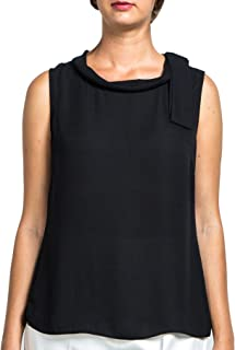 Everyday Womens Wide Cowl Neck Sleeveless Blouse with Off Set Tie, Chiffon Top, Wear to Work