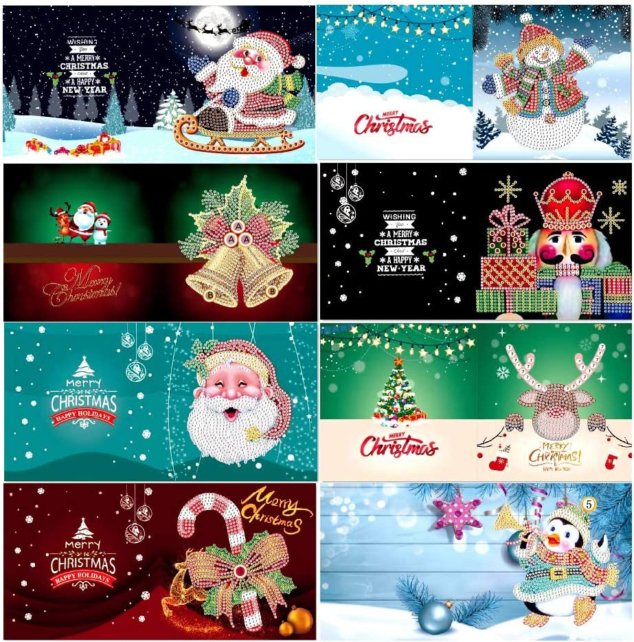 Funien Greeting Cards,6pcs 5D DIY Diamond Painting Christmas Cards Halloween Christmas Birthday Greeting Cards with Envelopes and Tools Art Craft Handmade Gift for Children Family Friends