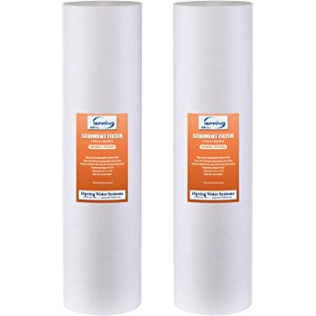 """iSpring FP25BX2 High Capacity 20"""" x 4.5"""" Water Replacement Cartridges Big Blue Fine Sediment Filters, 2 pieces / 5 microns, White, 2 Count"""