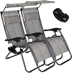 Set of 2 Zero Gravity Outdoor Lounge Chairs w/Sunshade + Cup Holder with Mobile Device Slot Adjustable Folding Patio Reclining Chairs W/Canopy+ Snack Tray (Grey)