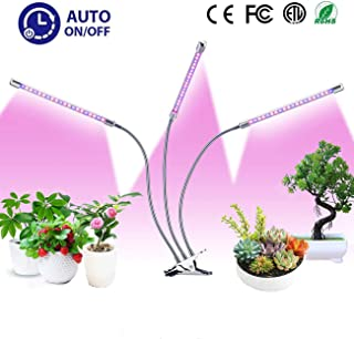 Grow Light for Indoor Plant, 30W LED Plant Grow Lamp with 60 LED Red/Blue Full Spectrum Bulbs, Auto ON & Off Plant Light with 3/6/12H Timer 6 Dimmable, 3-Head Adjustable Gooseneck with Desk Clip On