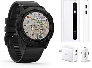 $609 » Garmin Fenix 6X Pro Black with Black Band, Premium Multisport GPS Watch (010-02157-00) and Texel 10,000mAh Portable Batter...