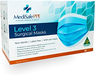 Level 3 Surgical Face Mask - Medical Grade - Australian Made - Ear loop - Disposable - 50 Pack - TGA Registered - Superior...