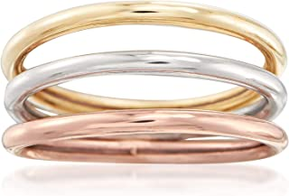 14kt Tri-Colored Gold Jewelry Set: 3 Polished Bands
