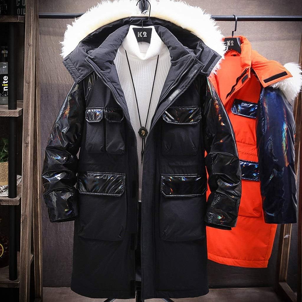 TWDYC Mens Long Down Jacket Men Winter Cargo Jacket Coat Patchwork Windproof Streetwear Orange Jackets Men (Color : Black, Size : Medium)