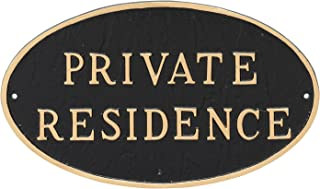 Montague Metal Products Oval Private Residence Statement Plaque Sign, Black with Gold Lettering, 6