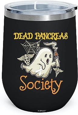 Dead Pancreas Society Boo Halloween 12oz Insulated Wine Tumbler