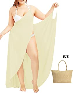 959bc4ab1f Janestone Women Plus Size Spaghetti Strap Backless V Neck Cover up Beach  Dress with Bag