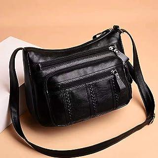 Goolfly Women Shoulder Bag PU Leather Multi Zipper Pocket Adjustable Strap Purses Lady Casual Crossbody Bag