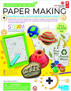 4M Green Science Paper Making Kit from STEAM Powered Kids, Have Recycling and Paper Mache Science Craft, It's A Glow Kit! ...