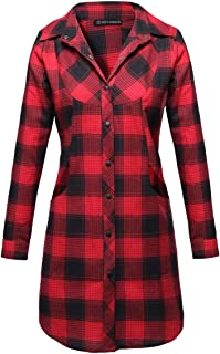 OMEYA.WANSHIDA.Women Long Sleeve Button Up Plaid Flannel Shirt Jacket (X-Large, F040-red)