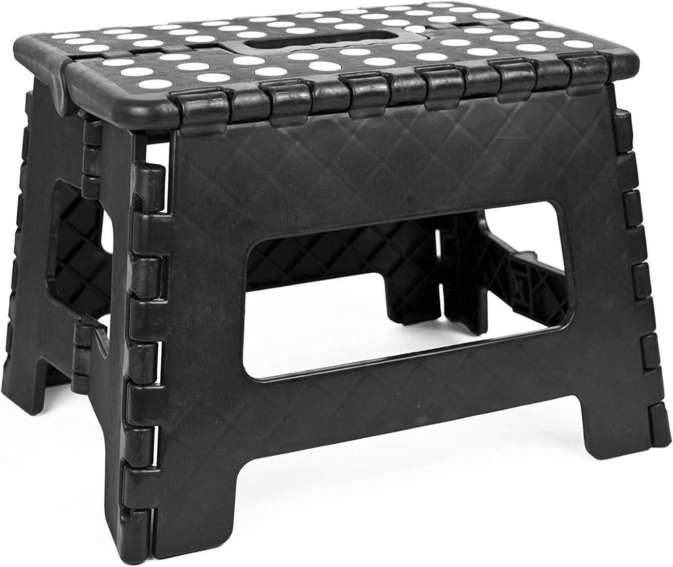 9 SMALL STOOL zusammenklappbar ADEPTNA Klapp-Hocker aus Kunststoff sehr robust kompakt und leicht rutschfest mit Griffen f/ür Kinder und Erwachsene