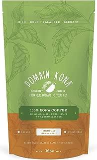 100% Kona Coffee – Whole Bean, Medium roast, NEW label, Single estate gourmet coffee, 16 ounces, Farm fresh roasted from Domain Kona Coffee