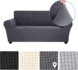 Stretch Sofa Cover -Slip Soft Couch Sofa Cover Washable for Living Room Kids Pets 3 Seat Dark Grey
