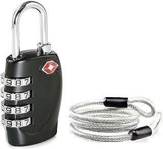 comprar comparacion Aspen 4 Dígitos Combinación TSA Candado Más Alta Seguridad TSA Luggege Bloqueo con Cable de Acero para el Viaje Equipaje M...