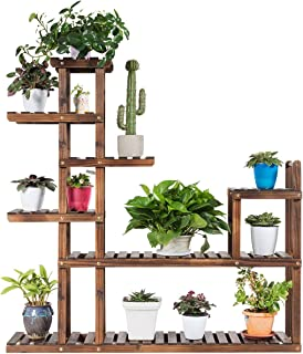 Giantex Flower Rack Wood Plant Stand Wood Shelves Bonsai Display Shelf Indoor Outdoor Yard Garden Patio Multifunctional Storage Rack Bookshelf W/Hollow-Out Rack (47.5''Lx 10''Wx 47.5''H (7 Tier))