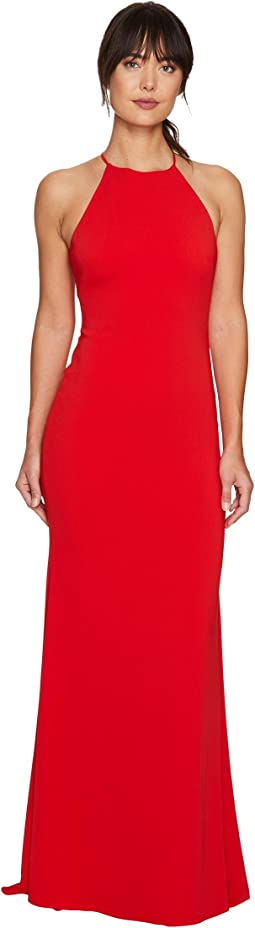 Racerback Stretch Crepe Halter Gown