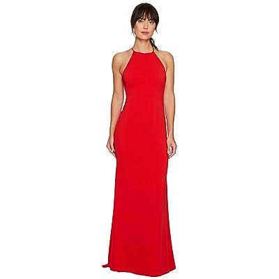 Badgley Mischka Racerback Stretch Crepe Halter Gown (Red) Women