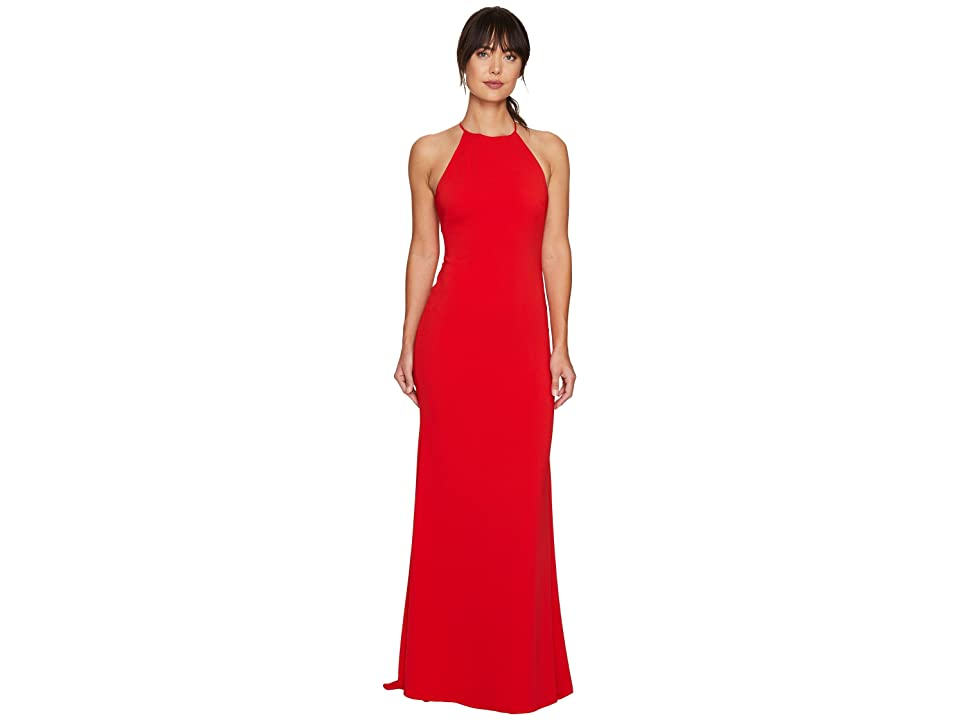 Badgley Mischka Racerback Stretch Crepe Halter Gown (Red) Women