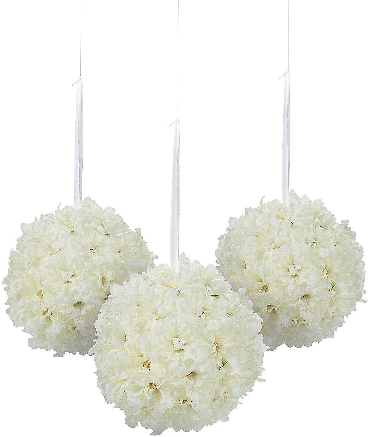 Hydrangea Pomander Kissing Balls - Set of 3 Pieces, Each is 6.5 inch - Wedding and Home Decor