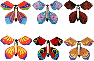 Modpion 18 Pieces Magic Fairy Flying Butterfly Rubber Band Powered Wind up Butterfly Toy for Surprise Gift or Party Playing