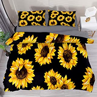 LvShen Bedding Duvet Cover Set 3 Pieces Sunflower Printed Bed Coverlet Cover with 2 Pillow Cases Shams and 1 Comforter Quilt Cover for Home Women Men- Queen Size