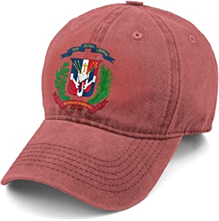 Coatof Arms Dominican Republic Flag Denim Hat Adjustable Washed Dyed Cotton Dad Baseball Caps Gray