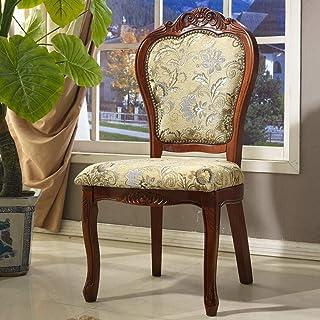 LHQ-HQ Silla de comedor del hotel Silla de madera maciza de comedor tallado Europea Ocio clásica Silla de comedor, café Fácil de montar 2 piezas for sillas de cocina (Inicio Color: Marrón, Tamaño: 58x