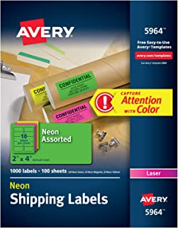 Avery High-Visibility Neon Shipping Labels for Laser Printers 2