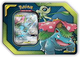 Pokemon Tag Team Tin Celebi & Venusaur-GX- TCG: Sun & Moon Box- 4 Booster Packs | 1 Foil Art Celebi & Venusaur-GX Foil Card