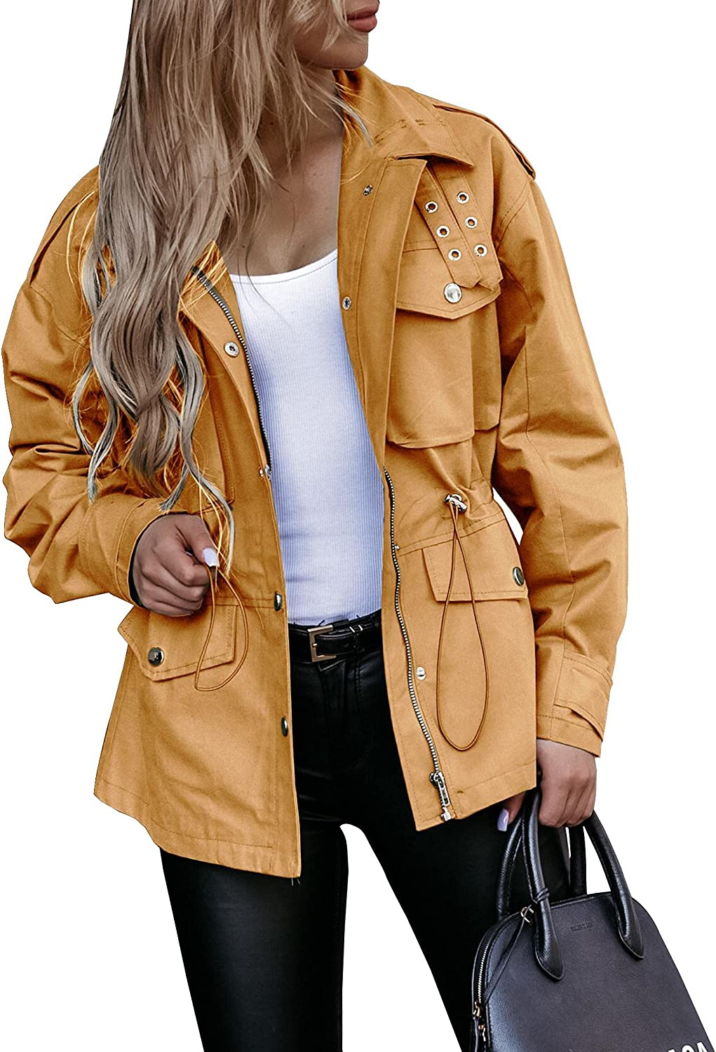 Womens Drawstring Waist Coat Zip Up Solid Color Jacket Long Sleeve Slim Casual Tops with Pockets
