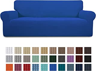 Easy-Going Stretch Oversized Sofa Slipcover 1-Piece Sofa Cover Furniture Protector Couch Soft with Elastic Bottom for Kids,Polyester Spandex Jacquard Fabric Small Checks Classic Blue