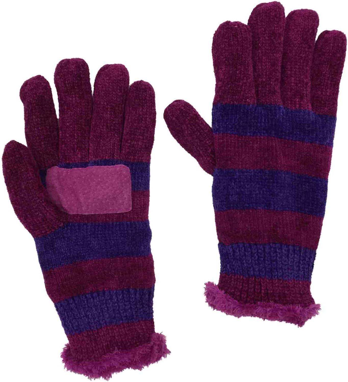 Isotoner Womens Pink & Purple Stripe Rayon Chenille Knit Gloves Microplush