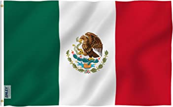 Anley Fly Breeze 3x5 Foot Mexico Flag - Vivid Color and UV Fade Resistant - Canvas Header and Double Stitched - Mexican MX National Flags Polyester with Brass Grommets 3 X 5 Ft