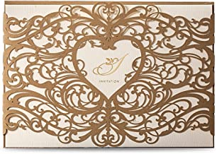 DreamBuilt Laser Cut Invitations Cards Sets Gold for Wedding Birthday Bridal Shower with Envelopes and White Printable Paper Kits,1pc,CW5018 (1)