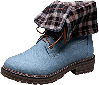 TAOFFEN Women Casual Ankle Boots Low Heels Martin Boots