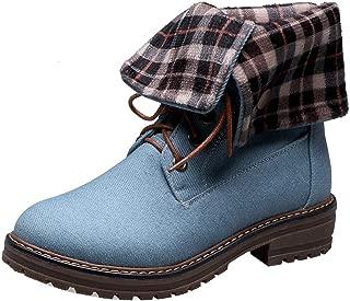 RAZAMAZA Women Western Heels Short Boots Lace Up