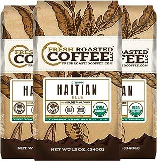 Fresh Roasted Coffee LLC, Organic Haitian Blue Coffee, Medium Roast, Direct Trade, USDA Organic, Ground Coffee, 12 Ounce Bags, 3 Pack