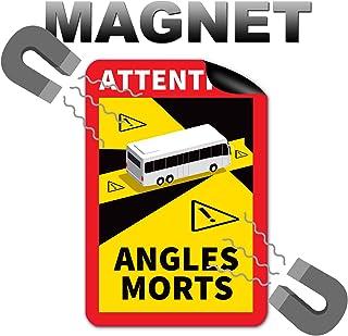 Attention Angles Morts magneetbordjes, 3 stuks, 25 x 17 cm, magneet, voor bus en caravan, waarschuwingsbord, Frankrijk met...