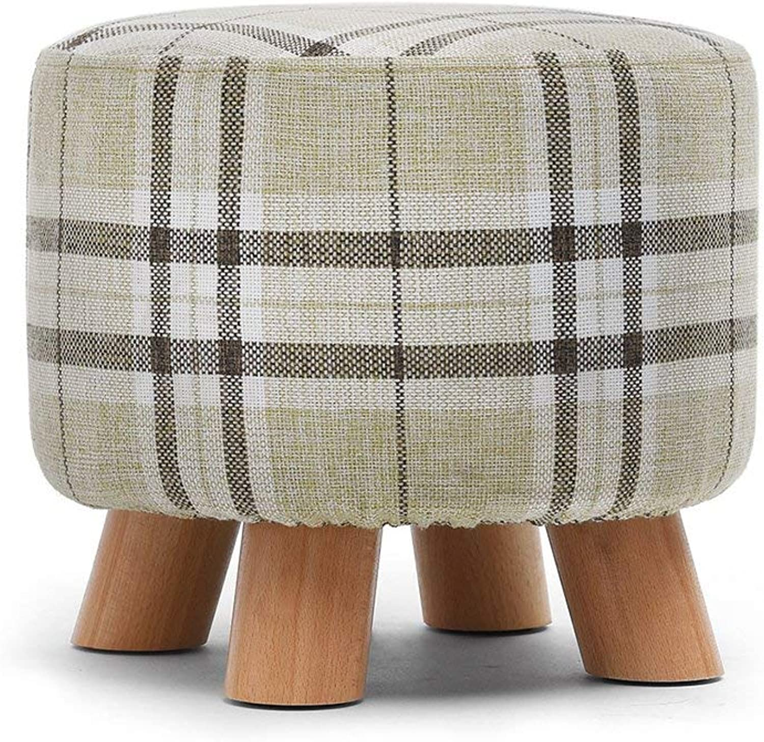 GJD Change shoes Stool Fashion Small Stool Solid Wood Stool Fabric Sofa Stool Stool - Small Stool (color   D)
