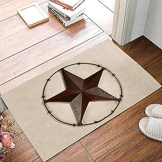 Retro Brown Wrought Iron Pentagram Doormats for Outdoor Entrance Doormat Non-Woven Fabric Home Decor Indoor/Outdoor Mats 2...