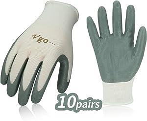 Vgo... 10Pairs Nitrile Coating Gardening and Work Gloves (Size M, White, NT2110)