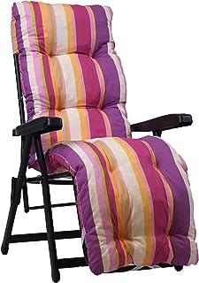 Recambio de cojín para tumbona con reposapiés, superacolchado, color multirayas rosa/lila/fucsia.