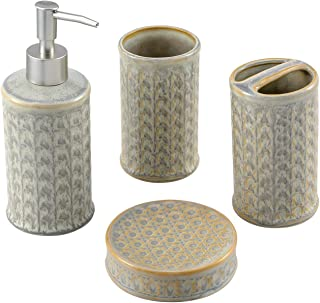 Cutiset 4-Piece Ceramic Bathroom Accessories Set, Bath Ensemble Set Include Soap Dispenser, Toothbrush Holder,Tumbler,Soap Dish Set for Bath Decor Home Gift