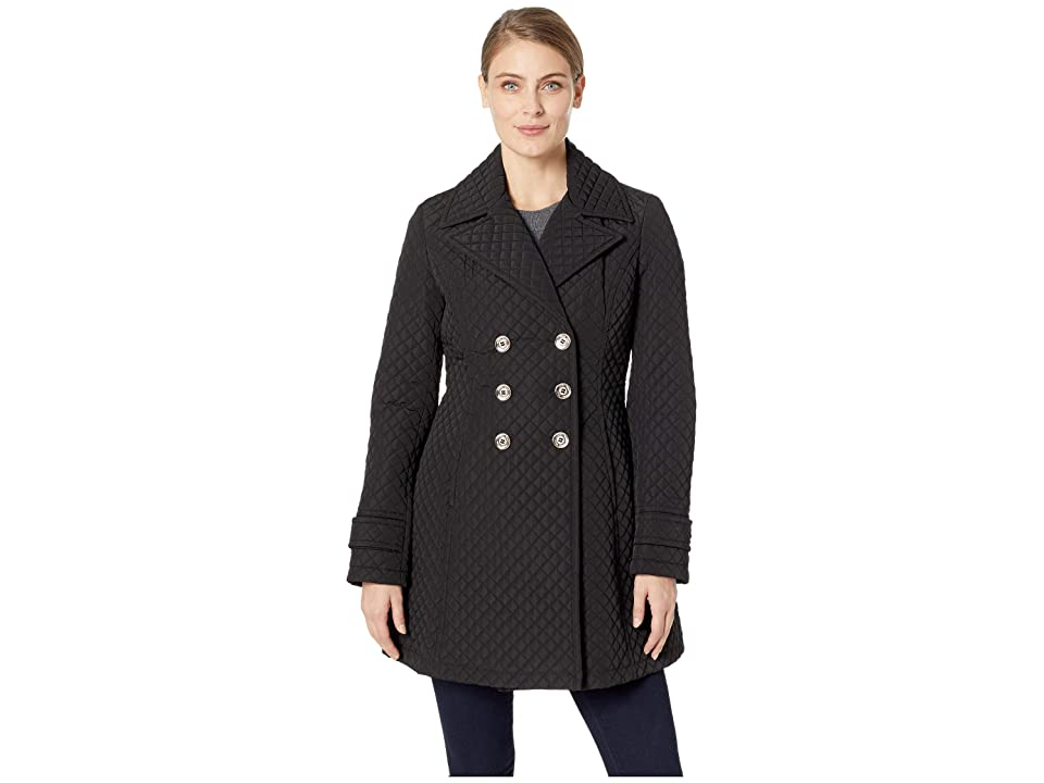 Ivanka Trump Double Breasted Button Quilt Jacket (Black) Women