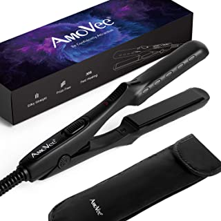 AmoVee Mini Flat Iron Nano Titanium Hair Straightener 3D Floating Plates 1/2 Inch Dual Voltage Instant Heat for Travel, Free Carry Bag Included, Black
