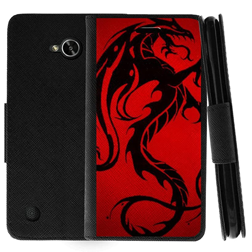 TurtleArmor | Compatible for LG X Power 2 Case | LG Fiesta 2 Case | LG X Charge Case | Protective Flip Leather Wallet Case Stand Cover with Card Slots - Red Dragon