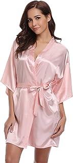 Aibrou Damen Kimono Morgenmantel Kurz Satin Robe Bademantel Nachtwäsche Sleepwear V Ausschnitt mit Gürtel für Party Hochzeit Braut Brautjungfern