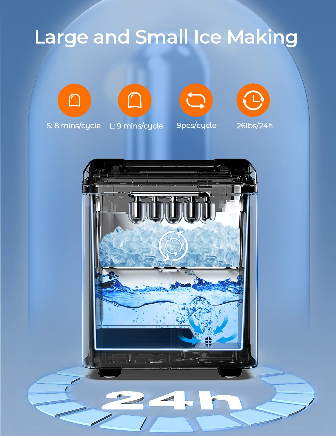 Dreamiracle Ice Maker Machine Countertop, 26 lbs in 24 Hours, Self-cleaning Ice Maker Countertop, 9 Cubes Ready in 8 Mins, Electric Ice Maker with Ice Scoop and Basket Home/Kitchen/Office